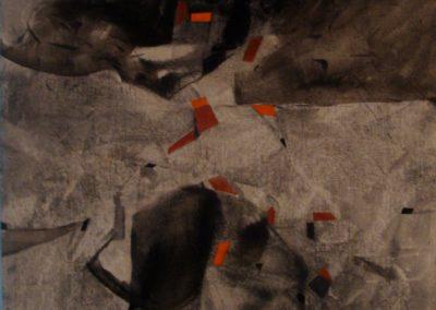 Personaggio al bar, calco acrilico su tela, 87x65, 1989