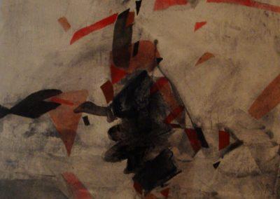 Donna seduta, calco acrilico su tela, 83x64, 1989