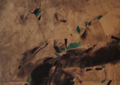 Uomo seduto per terra, calco acrilico su tela, 87x64, 1989